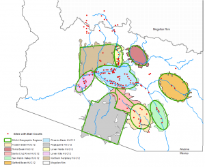 Map of central and southern Arizona showing USGS Hydrologic Unit Code 12 areas that correspond with Huhugam geographic subareas